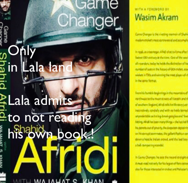 Only  in Lala land Lala admits  to not reading  his own book.!
