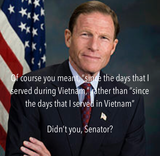"""Of course you meant, """"since the days that I served during Vietnam,"""" rather than """"since the days that I served in Vietnam"""" Didn't you, Senator?"""