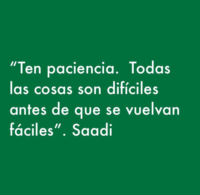 """""""Ten paciencia.  Todas las cosas son difíciles antes de que se vuelvan fáciles"""". Saadi"""