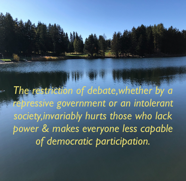 The restriction of debate,whether by a repressive government or an intolerant society,invariably hurts those who lack power & makes everyone less capable of democratic participation.