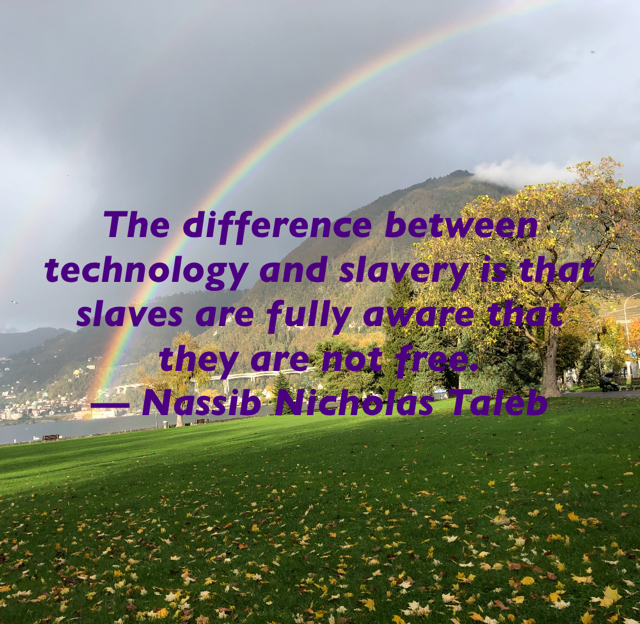 The difference between technology and slavery is that slaves are fully aware that they are not free. — Nassib Nicholas Taleb